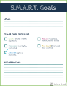 SMART Goal Checlist with Achievable Goal checked